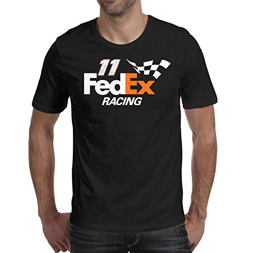 (YUIOA Men Black Tee Shirts Cotton Slim Fit FeDEX-Racing-Hamlin-11- Short Sleeve Tee Shirts)