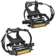 SEQI Bike Pedals with Clips and Straps for Outdoor Cycling and Indoor Stationary Bike 9/16-Inch Spindle Resin/
