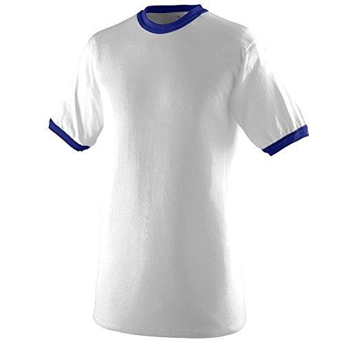 Augusta Sportswear Youth-Ringer T-Shirt M White/Purple (Girls Ringer T-shirt)