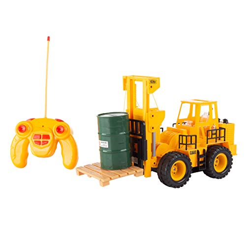 Remote Control Forklift - Hey! Play! Remote Control Toy Forklift- 1: 24 Scale, Fully Functional Rc Fork Truck with Lights & Sound, Includes Pallet, Pretend Barrel for Kids