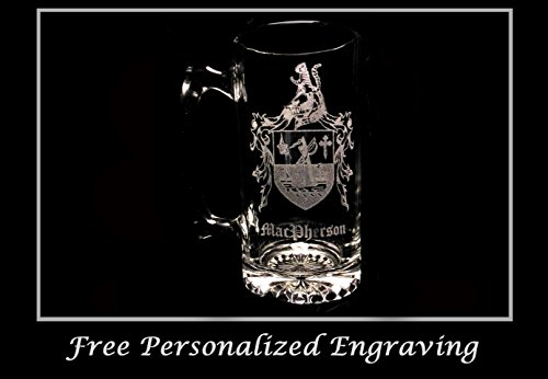 (Clan MacPherson Scottish Coat of Arms Stein: Free Shipping & Personalized Engraving)