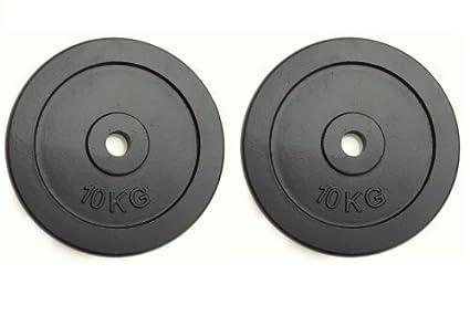 Set de discos para pesas (2 unidades,10 kg, hierro fundido)