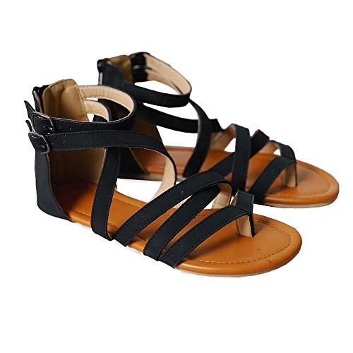 Womens Gladiator Strappy Flat Open Toe Lace Up Criss Cross Strap Ankle Wrap Summer Beach Thongs Sandals