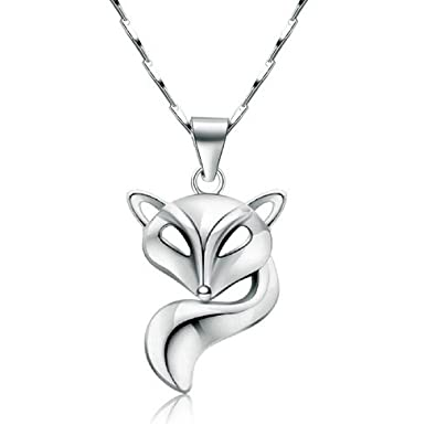 findout Sterling Silver inlaid zircon diamond fox pendant Necklace(f1547) 70NDWYd
