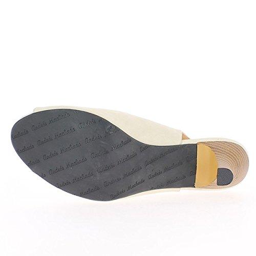 Consigli di sandali grande dimensione donna beige opaco aprire tacco di 7,5 cm