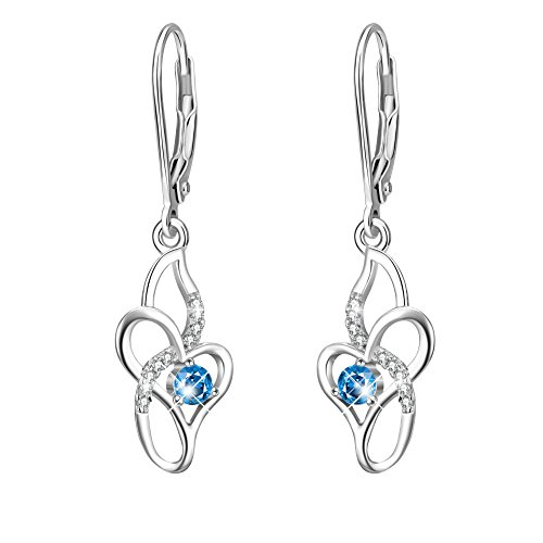 Infinity Love Heart Dangle Earrings for Women's 925 Sterling Silver Jewelry Drops Gift (Infinity love heart (Flower Dangling Necklace Earrings)