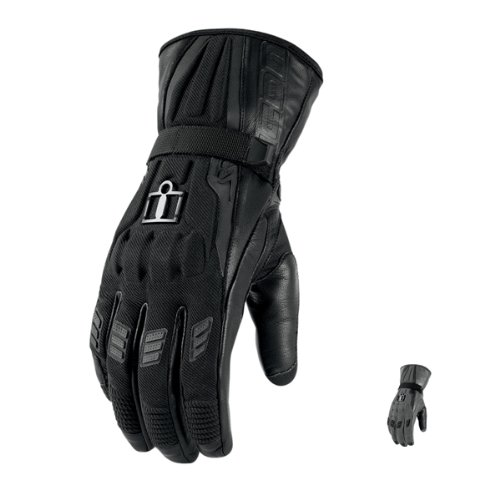 3301 Icon - Icon Device Touchscreen Long Gloves , Distinct Name: Black, Gender: Mens/Unisex, Primary Color: Black, Size: Md, Apparel Material: Textile 3301-1808