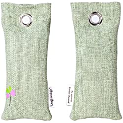 LeafLoveLife-Bamboo Charcoal Air Purifiers 2 Bags-Fragrance Free Odor Eliminator Freshener (Green)