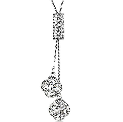 Long Necklace, Wonvin Women 18K White Gold Plated Four-Leaf Clover Long Chain Sweater Necklace