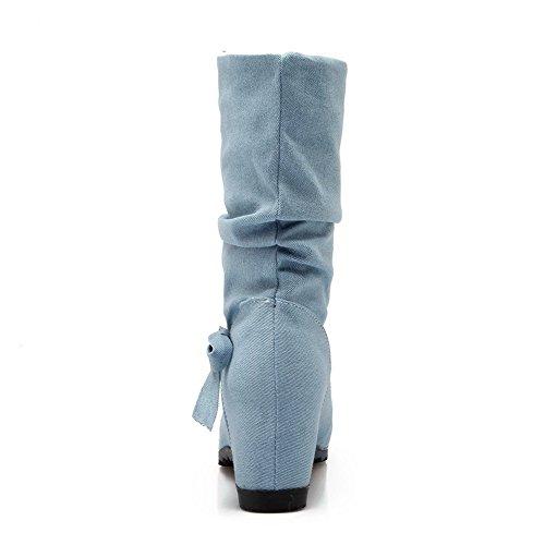 AllhqFashion Mujeres Caña Media Sin cordones Cuña Puntera Redonda Botas con Pajarita Azul