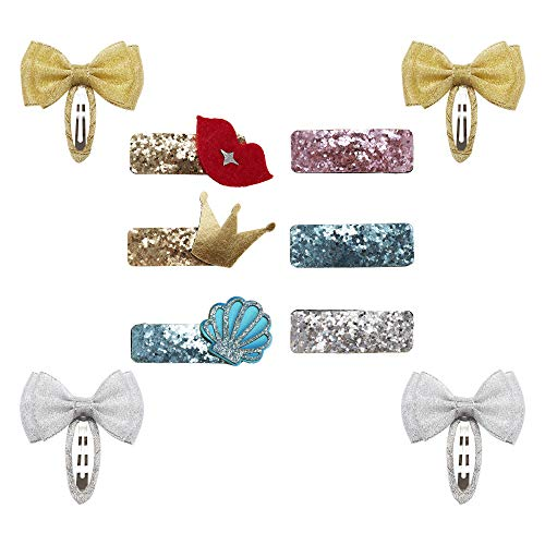10 Pack Bulk Mini Small Little Cute Glitter Sparky Sequins Hair Clips Barrettes Alligator Lined Snap Bows Pigtail Holder Bowknot Lip Crown Boutique Fancy Accessories for Baby Infant Toddler Kids Girl ()