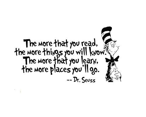 Removable Quotes Dr. Seuss ''The More You Read, The More Things You Will Know Transfers Murals Reading Wall Decal Kids Children Bedroom School Art Wall Stickers