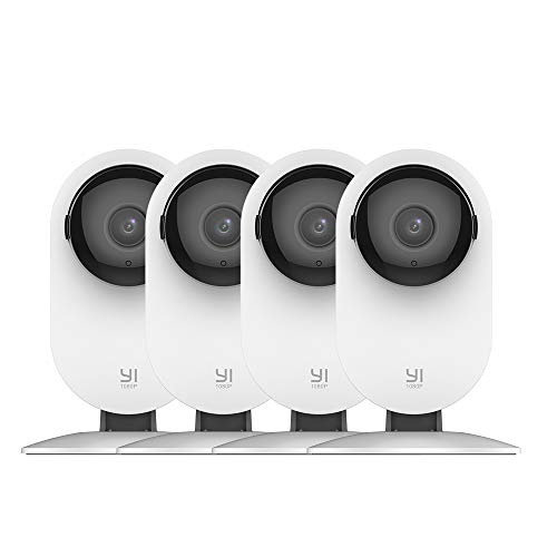 YI 4pc Home Camera, 1080p Wi-Fi IP Security Surveillance Smart System with Night Vision, Baby Monitor on iOS, Android App - Cloud Service -