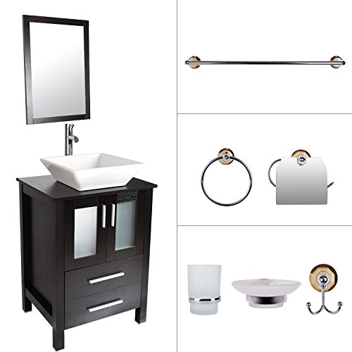 ELECWISH Bathroom Vanity and Sink Combo 24 Inch Stand Cabinet with Mirror Square Ceramic Vessel Sink with Faucet and Pop Up Drain (Set 1) (Vessel Sink Vanity Set)