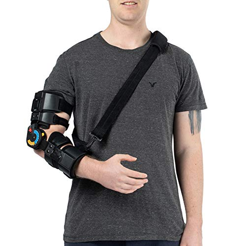 (Hinged ROM Elbow Brace with Strap, Post OP Elbow Brace Stabilizer Splint Arm Orthosis Injury Recovery Support - Right)