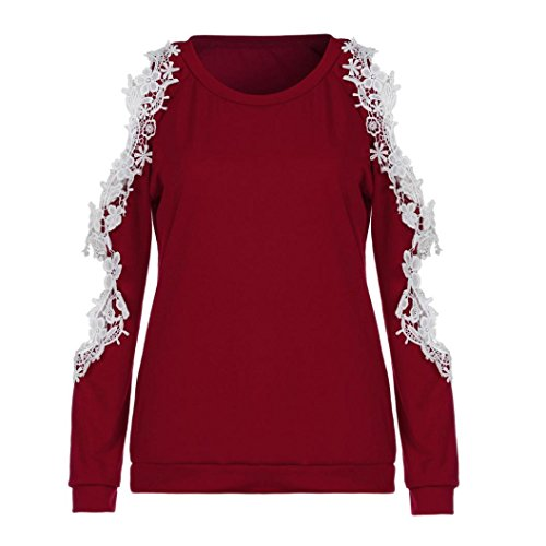 Camicetta Ladies YUMM Casuale Camicia Pizzo Tops off Rosso Top Donna Shoulder rrEq8Z