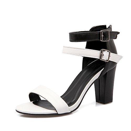 Peep Bloque White Tacones de Sandalias QIN Mujer Toe amp;X ZxAXRX