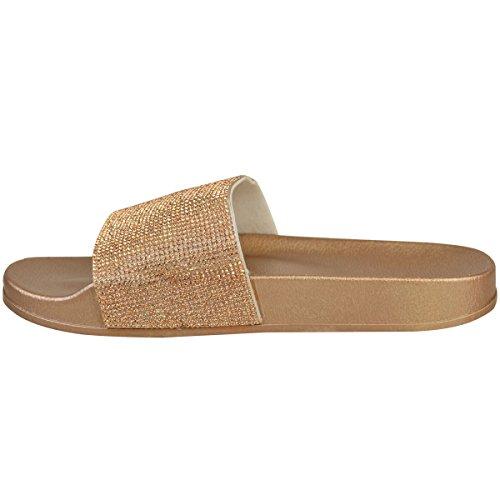 Mote Tørste Kvinner Diamante Behage Glidere Flat Sommer Sandaler Størrelse Rose Gull Metallic / Mørk Gull