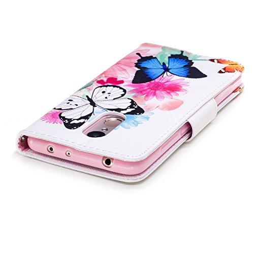 Funda para Xiaomi Redmi 5 , IJIA Un Par de Mariposas TPU + PU Ranuras para Tarjetas de Crédito Flip Folio Caja [Estilo Libro,Soporte Plegable ] Cover Tapa Caso Parachoques Carcasa Cubierta para Xiaomi