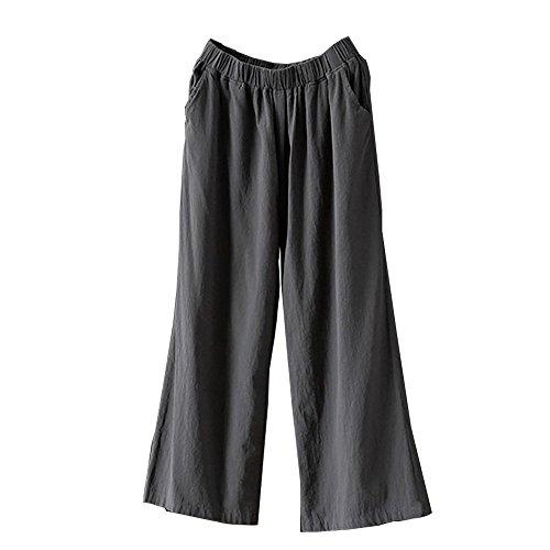 Pervobs Women Pants, Women Loose Palazzo Cotton Linen High Waist Elastic Waist Wide Leg Pants Trousers (2XL, Gray) -