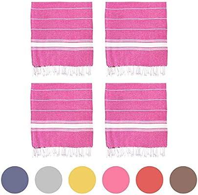 Nicola Spring Toalla de baño - Microfibra de 100 % algodón Turco - Rosa - Pack de 4: Amazon.es: Hogar