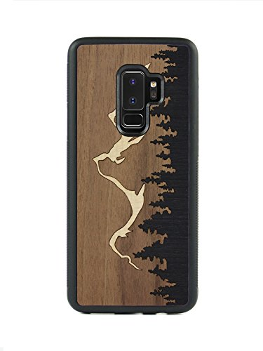 Carved | Samsung Galaxy S9 Plus | Luxury Protective Traveler Case | Unique Real Wooden Phone Cover | Rubber Bumper | Grand Teton Inlay