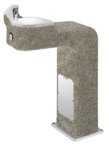 (Haws 3177 Vibra-Cast Reinforced Barrier-Free Concrete Pedestal Drinking Fountain with Exposed Aggregate Finish)