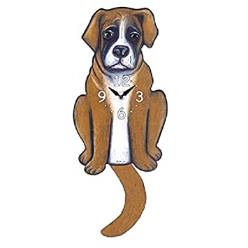 Boxer Dog Wagging Tail Pendulum Clock
