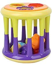 Glad oppervlak Babybouwstenen, bouwstenen speelgoed, voor baby 6 maanden oud+ Thuis spelen Baby 6 maanden oud+(314 Bouwsteen cilindrisch model)
