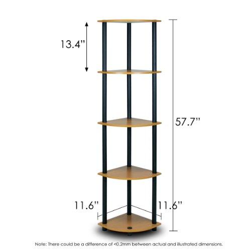 Furinno 99811LC/BK Turn-N-Tube 5-Tier Corner Shelf, Light Cherry - bedroomdesign.us