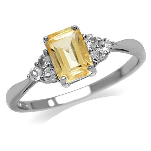 Natural Citrine & White CZ Gold Plated 925 Sterling Silver Engagement Ring Size 6