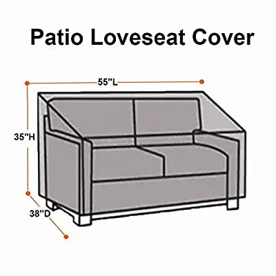 Patio Loveseat Cover - 420D Outdoor Sofa Cover Patio Couch Cover with Drawstring Hem + 4 Click-Close Straps, Waterproof Outdoor Loveseat Cover Outdoor Patio Furniture Covers (55