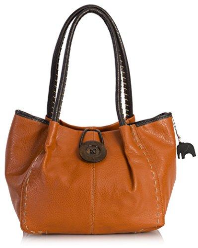 Womens With Dust Bhsl Charm Bag Button and BHSL Detail Tote Bag Trendy Shoulder Boutique Large Elephant Orange Designer 1a7dq6v