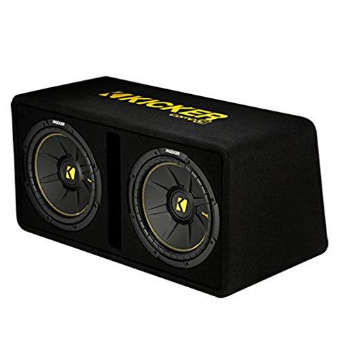 (Kicker Dual 10-Inch 1200 Watt 2 Ohm Vented Loaded Subwoofer Enclosure, 44DCWC102)