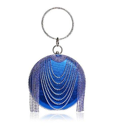 Bag Evening Shoulder Women Bridal Wedding Glitter Party Blue Purse Clutch Bag Handbag Tassel For Clubs Ladies Gift Prom Diamante Circular wwqxvSzB