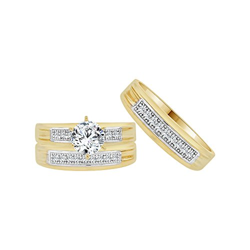 14k Yellow Gold White Rhodium, Trio 3 Piece Wedding Ring Set Round Created CZ Crystals 1.0ct by GiveMeGold