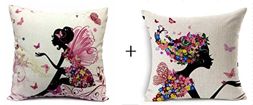 1 set 2 pcs Flower Fairy Girl with Pink Wing Elves and Butterflies New Decorative Pillowcase Throw Pillow Cushion Cover Square 18