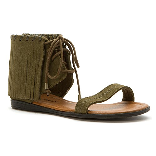 Minnetonka Women's Havana Loden Green Suede Sandal 9 M