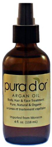Pura d'or 100% Pure & USDA Huile d'Argan Bio (4 fl. Oz). Pour le visage, cheveux, peau et des ongles