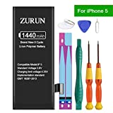 ZURUN 1440mAh High Capacity Li-ion Polymer Replacement 5 Battery Compatible with iPhone 5 with Repair Replacement Kit Tools Adhesive Strips 0 Cycle -2 Year Warranty (Only for iP5)