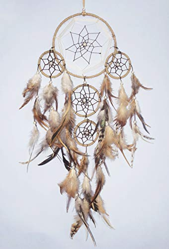 Asian Hobby Crafts Traditional Handcrafted Dream Catcher Wall Hanging with Natural Feathers – Brown Large Boho Style for Room Decor, Baby Shower, Gifting, Size – 21 x 6 inches (L x Dia)