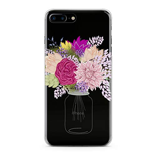 Lex Altern TPU Case for iPhone Apple Xs Max Xr 10 X 8+ 7 6s 6 SE 5s 5 Cute Floral Bottle Flower Cover Pink Clear Print Blossom Protective Rose Design Girls Women Transparent Flexible Soft Silicone