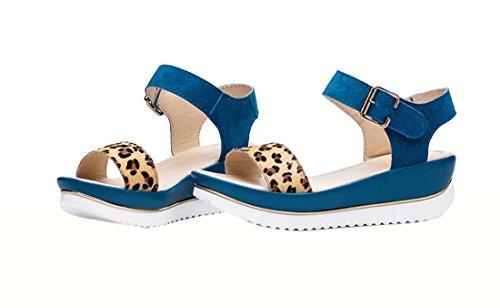 HooH Damen Nubuk Pferdehaar Leopard Sandalen 705 Aqua Blau