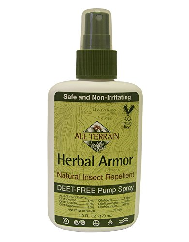 All Terrain DEET-Free Herbal Armor Insect Repellent, 4 Ounce, Safe for Kids, Sensitive Skin, Effective Bug Spray Formula with Natural Essential Oils, Great for Travel, Camping, Outdoor Activities