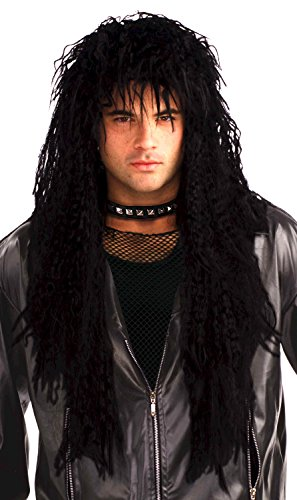 Forum Novelties Men's 80's Hard Rocker Wig, Black, One Size (Best Mens 80's Costume)