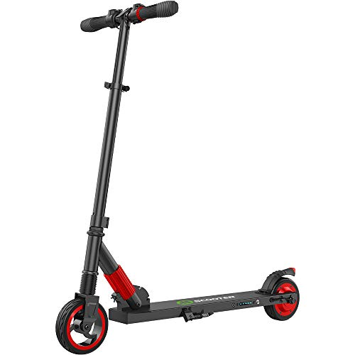 MEGAWHEELS Electric Scooter, 8 Miles Long-Range Battery, Up to 14 MPH, 5.5 Inch Shock Absorbing Rear Tire, Portable and Folding Design, Ultra-Lightweight Kick Scooter for Kids, Red
