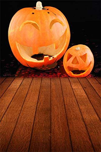 Leyiyi 6.5x10ft Cothic Halloween Backdrop Pumpkin Lanterns on Wooden Board Smiling Face Stars Dark Room Lay Out Floor Photography Background Rural Costume Night Photo Studio Prop Vinyl Wallpaper -