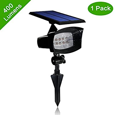 [Upgraded 400 Lumens] Solar Powered Led Spotlight 2 in 1 Installation Waterproof 8 LED Solar Spot light Adjustable Wall Light, Security Lighting, Path Lights, Landscape Solar Flag Pole Light, Etc