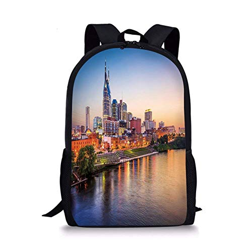 School Bags United States,Cumberland River Nashville Tennessee Evening Architecture Travel Destination,Multicolor for Boys&Girls Mens Sport Daypack