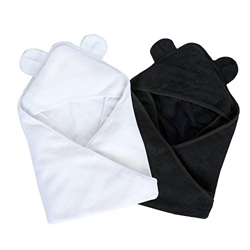 SOFT Hooded Baby Bath Towels - Crafted from Naturally Soft Organic Bamboo for Sensitive Skin (2 PACK BUNDLE) by Moon and Baby